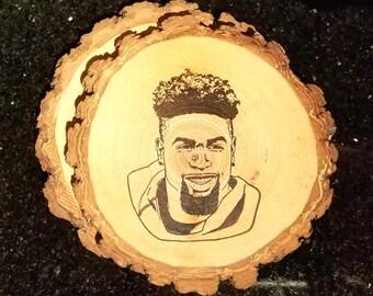 Odell Beckham Jr. Handcrafted Natural Wood Coaster Set of 2