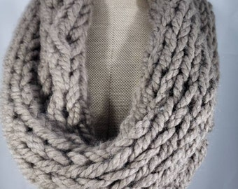Chunky Hand Knit Infinity Scarf Cowl in Taupe Light Brown