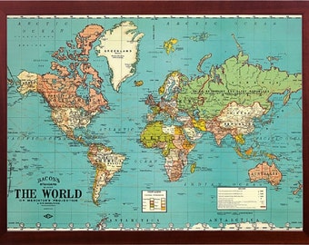 Walnut wood map etsy framed world map vintage parchment decorative walnut finish wood frame perfect for push pins included gumiabroncs Gallery