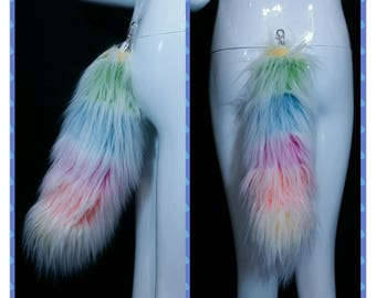 Frosty Rainbow Furry Tail | Fluffy Rainbow Tail | Cosplay | Rave Wear | Gifts Under 50 | Gifts for Her | Gifts for Him | Gifts for Kids