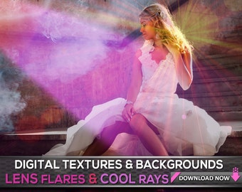 100 Lens Flare Light Overlays And Abstract Light Photoshop Overlays, Light Backgrounds, Lens Flare, Wedding Photography Overlay