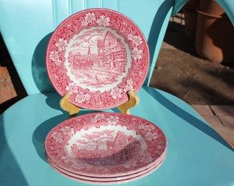 "1940's - 50's Vintage Royal Tudor ""Coaching Taverns"" PINK - Set of Four ( 4 ) Rim Soup Bowls - 8 7/8 Inches - Excellent Condition"