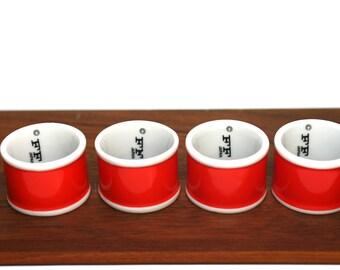 Fitz and Floyd Rondelet Terra Cotta Orange Napkin Rings - Set of 4 - FF Japan - In Original Box