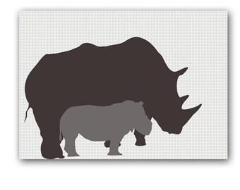 Mother and baby Rhino -  Kids Art Prints,  nursery decorating ideas, nursery rhino, mummy rhino, rhinoceros
