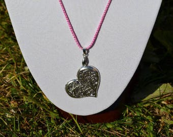 openwork heart pendant silver + satin cord (color of your choice)