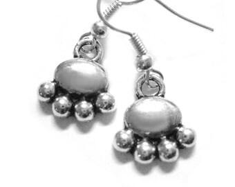 Silver Pawprint Jewelry - Dog Paw Print Earrings Pet Lovers Gift Animal Paw Earrings 149