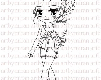 Digital Stamp-Cocktail Anne(#117), Digi Stamp, Coloring page, Printable Line art for Card and Craft Supply