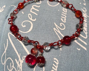 Red wrapped bead bracelet