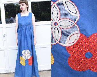 60s 70s Floral Boho Hippie Maxi Dress // S