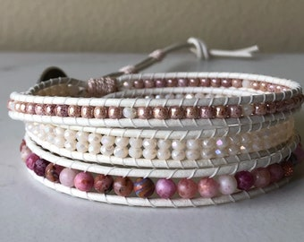 Jasper, crystal and picasso bead triple Wrap Bracelet, Beaded Bracelet, Leather Wrap Bracelet, Unique Beaded Bracelet, Boho jewelry, Beach