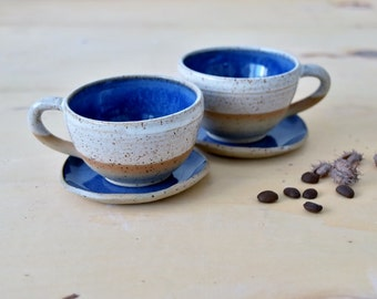Espresso cups set and Saucer, Two colorful espresso cups with Saucer, Two Stylish Ceramic Espresso cups Service, Tea mug set