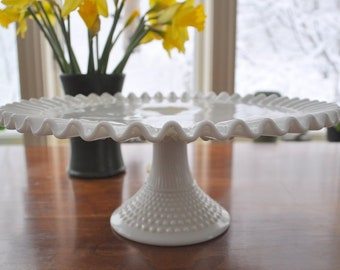 Fenton cake stand, milk glass cake stand, ruffled hobnail