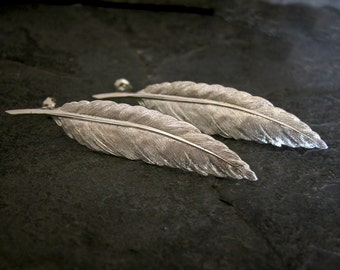 Wedding Jewelry ,Bridal Earrings ,Silver Feather Earrings, Silver Statement Earrings, Long Silver Feather Earrings, MADE TO ORDER