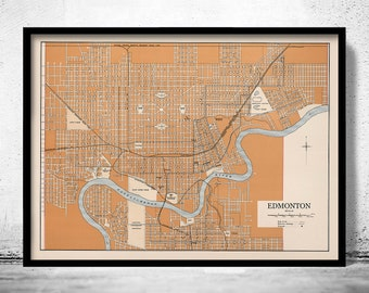 Old Map of Edmonton Canada 1915