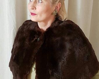 Elegant Original Vintage 1940s Fur Cape - Real Fur Cape - Brown Fur Stole - Size M