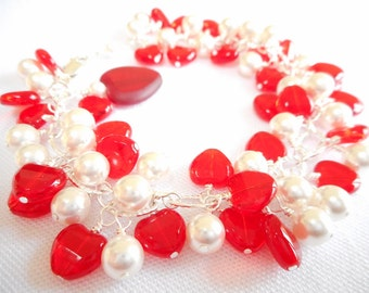 Red Heart Charm Bracelet, Heart Jewelry, White Swarovski Crystal Pearl and Red Glass Heart Cluster Bracelet, Valentine's Day Gift for Her