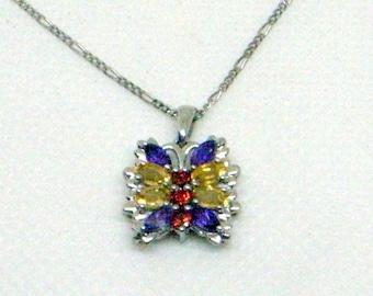 Vintage Gemstone Butterfly Necklace - Amethyst,Garnet,Citrine Butterfly Pendant - Sterling Silver - Sterling Chain