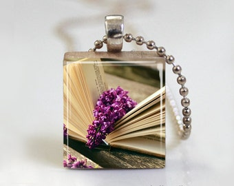 Book and Lilac Bloom Book Worm - Scrabble Tile Pendant - Free Ball Chain Necklace or Key Ring