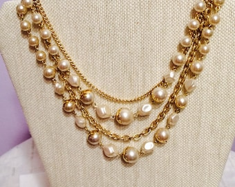 Multistrand Goldtone and Pearl Choker