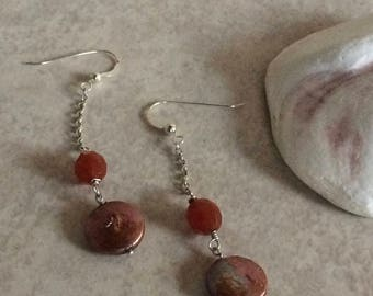 Carnelian Pearl Earrings