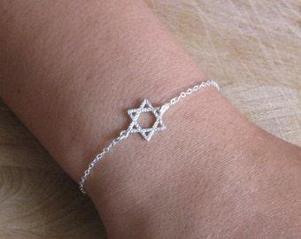 Silver Star of David bracelet, sterling bracelet, Magen David bracelet, silver bracelet, Jewish jewelry, dainty bracelet, simple bracelet