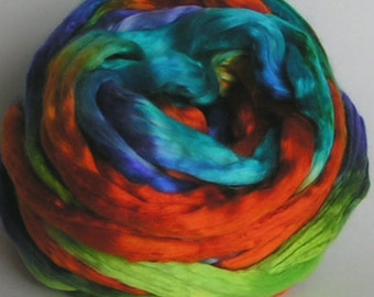 Silk Sliver Top Mulberry Roving Fiber Mulberry cultivated JAMAICA  Luxurious Phatfiber July Feature Hand Painted for Handspinning 2 ounces