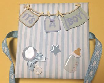 Baby boy Accordion mini photo book/ small album, handmade in blue