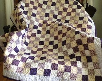 Purple white patchwork crib toddler lap quilt