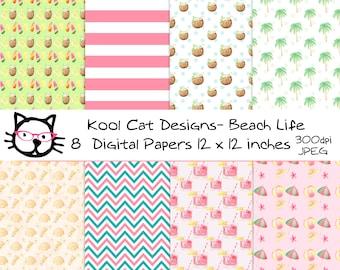 Beach Digital  Paper Pack - Summer Digital Paper Pack - Beach Theme Patterns - Scrapbooking - Printable Paper - Paper crafts - Card making