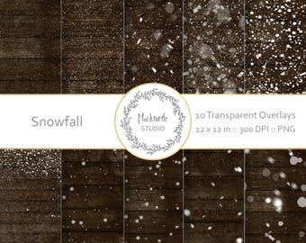 Snow Digital Overlays, Transparent Snow overlay, Scrapbook paper, Snow Photography overlay PNG, Winter overlay - Digital papers - Snowfall
