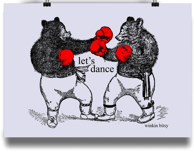 LET'S DANCE Boxing Bears Altered Vintage Illustration Original Art Print. Available in sizes A4 - A1. Printed on 220gsm semi-gloss paper.