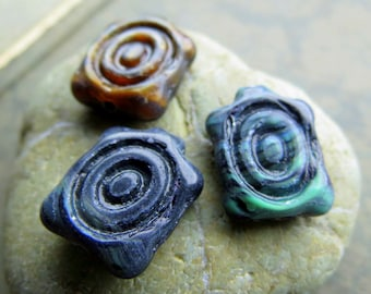 NEW SWIRLED TURTLES . Czech Picasso Glass Beads . 18 by 13 mm (4 beads)