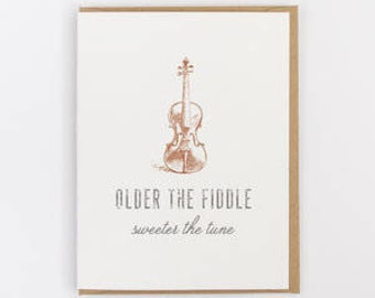 older the fiddle greeting card