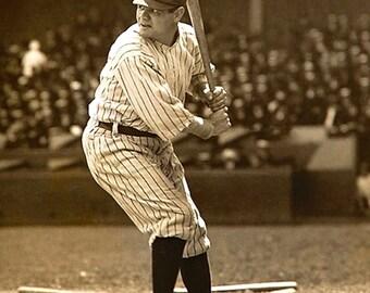 Babe Ruth on Canvas, New York Yankees, Canvas Art, Canvas wall art, Baseball art