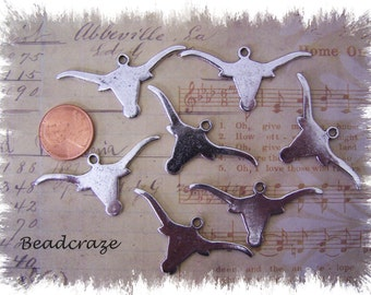 Longhorn Pendant for Jewelry Making ~ Longhorn Charm ~ Country charms~ Western charms ~ 12 pcs