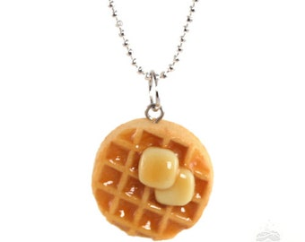 Waffle Necklace, Parks and Recreation, Amy Poehler, Leslie Knope, Miniature Food Jewelry, Daughter Necklace, Mothers Day Gift, Scented