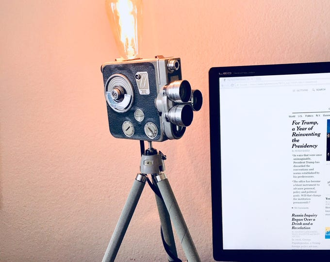 Eumig camera lamp on tripod. Perfect gift for photographers or movie fans. Unique gift. One of a kind lighting