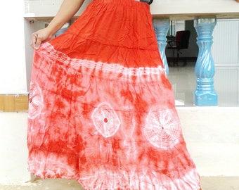Tie Dye Maxi Patchwork Skirt Boho Hippie Gipsy Summer Beach Festival Orange Skirt