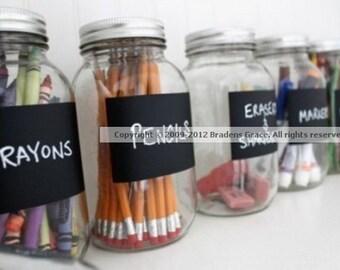 12 Get Organized Chalk Labels-Chalkboard Vinyl Labels-Mason Jar Labels, Chalkboard Stickers