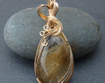 Rutilated Quartz Wire Wrapped Pendant (657)
