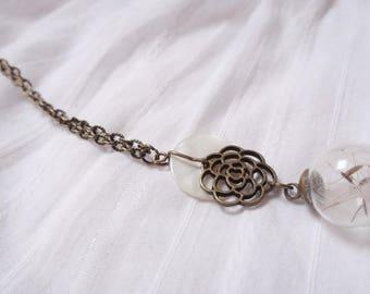 Dandelion glass ball necklace