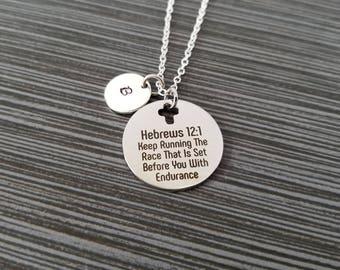 Hebrews 12:1 Necklace - Race With Endurance Necklace - Religious Necklace - Cross Necklace - Christian Necklace Bible Verse Necklace