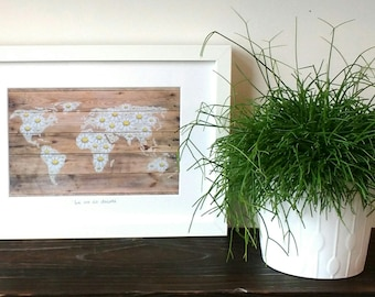 We are all daisies. Daisy world map | A4 and A5 print of original painting on wood | World map digital print | Daisies | Wall decor