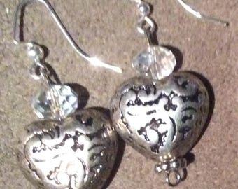 Silver colored heart earrings