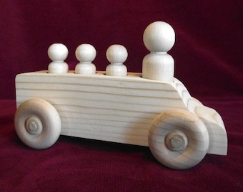 Mini-Van with Peg Dolls, Unfinished Pine
