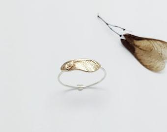 Bronze Maple key ring, Samara Maple seed Silver ring, Silver jewelry, Bronze Jewelry, Maple Tree seed, Sycamore ring, Botanical jewelry