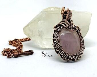 wire wrapped pendant, quartz necklace, rose quartz pendant, women gift,  copper jewelry, girlfriend gift, wire jewelry, boho pendant