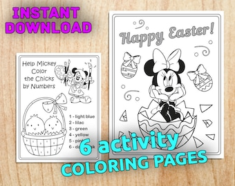 NEW! Mickey and Minnie EASTER Coloring Pages / Instant Download / Printable Digital / PDF / 6 pages (Non-Personalized)