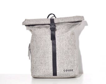 SALE !!!!! GOUSE - No.2 (High Quality Casual Cool Minimilistic Roll Top Grey Backpack Rucksack for Womens, Mens, Girls, Boys)
