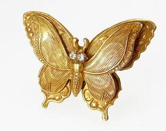 Vintage Butterfly Brooch Rhinestone Eyes Gold Plated Brass